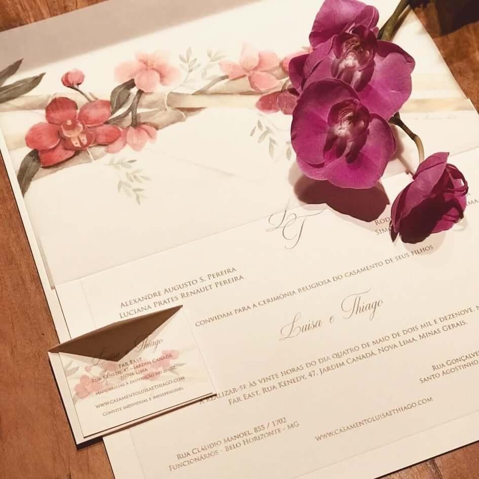 Aquarela pintada para convite de casamento