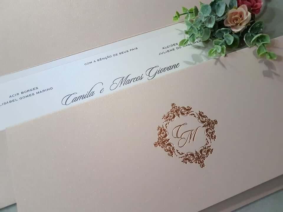 cor nude para convite de casamento