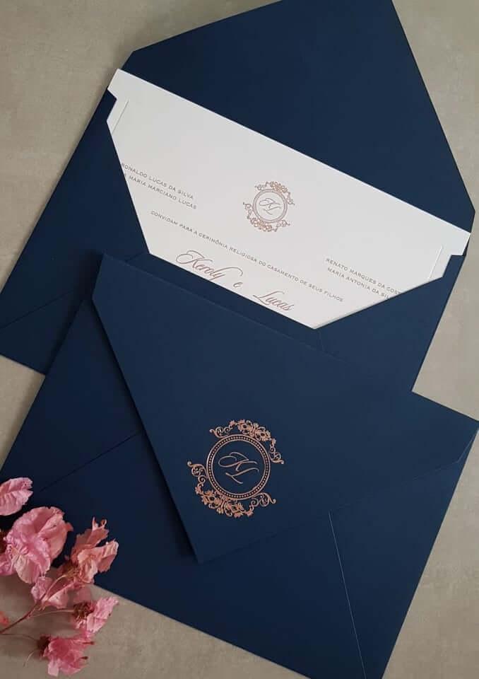 convite de casamento azul marinho