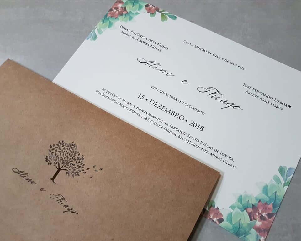 Papel craft para convite de casamento