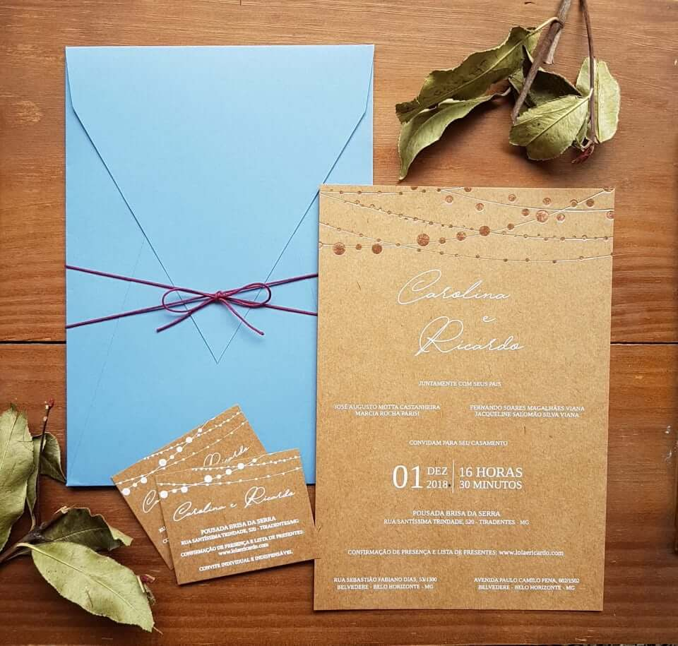 Convite de casamento no papel craft